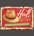 hat on red background retro poster vector image vector image