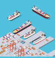 isometric city industrial dock vector image vector image