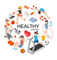 isometric fitness round concept vector image