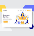 landing page template premium service concept vector image vector image