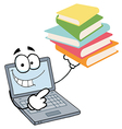 Laptop Guy Holding A Stack Of Books vector image vector image