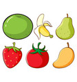 large set different types fruits and vector image vector image