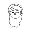line woman head with closed eyes and hairstyle