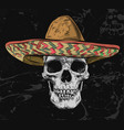 mexican skull with sombrero on background vector image vector image