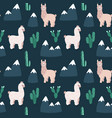 modern seamless hand drawn pattern with alpacas vector image