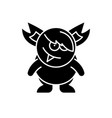 monster black icon sign on isolated vector image