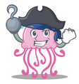 pirate cute jellyfish character cartoon vector image