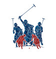 polo horses players sport cartoon graphic vector image vector image