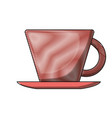 porcelain cup on dish colored crayon silhouette vector image vector image