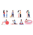 pregnancy concept with woman doing activities vector image vector image