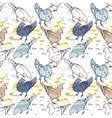 seamless pattern background pigeons hand drawn vector image vector image