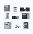 set different home appliances electric house vector image vector image