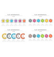 set of flat style 6 steps timeline infographic vector image vector image