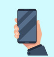 smartphone in hand mobile phone holding vector image vector image
