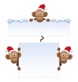 Smiley monkey head in Christmas red hat peeking vector image vector image