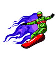 snowboarder crow on fire art vector image vector image
