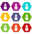 snowman icon set color hexahedron vector image vector image