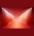 spotlights with stage on smoke red warm background vector image