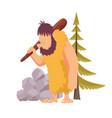 stone age primitive man in animal hide pelt vector image vector image