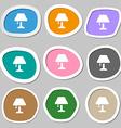 Table lamp Icon symbols Multicolored paper vector image