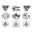 vintage airplane emblems pilot academy fly stamp vector image vector image