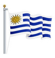 waving uruguay flag isolated on a white background vector image vector image