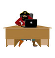 web pirate and laptop internet hacker and pc vector image vector image
