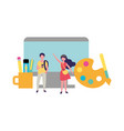 young man and woman designer workspace vector image vector image