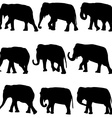 Elephants silhouettes set vector image