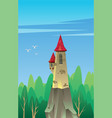 digital castle with red roof vector image