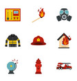 useful fire serivice icons set flat style vector image