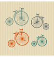 Abstract Old Vintage Bicycles Bikes on Recycled vector image vector image