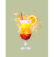 abstract polygonal cocktail glass with watercolor vector image vector image