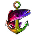 anchor and fish white vector image