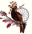 beautiful bird holding arrow and dream catcher vector image vector image