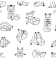 Black and white hand drawn foxes doing yoga vector image vector image