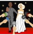 bodyguard protecting celebrity woman vector image vector image