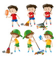 boy doing different chores vector image vector image