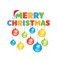 cartoon inscription happy christmas with colorful vector image vector image