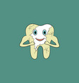 cartoon tooth gets rid of yellow plaque on enamel vector image vector image