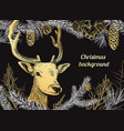 christmas hand drawn background with deer vector image vector image
