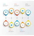 climate flat icons set collection of lightning vector image
