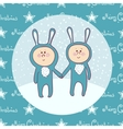 Cute babys in rabbit costume vector image