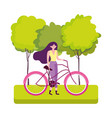 eco friendly transport young woman with bicycle vector image