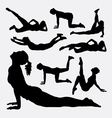 Exercise fitness sport silhouette vector image vector image
