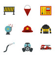 fireman icons set flat style vector image vector image