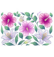 flowers and leaves lily and hibiscus vector image vector image