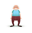funny cartoon old man character senior in glasses vector image vector image