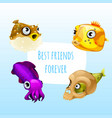 funny poster with image of marine fishes with cute vector image vector image
