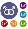 gay love sign icons set vector image vector image
